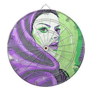 lady woodblock purple dartboard