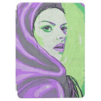 lady woodblock purple iPad air cover
