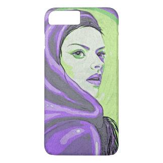 lady woodblock purple iPhone 7 plus case