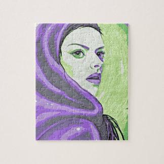 lady woodblock purple jigsaw puzzle