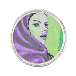 lady woodblock purple lapel pin