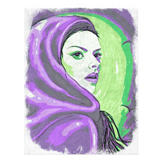 lady woodblock purple letterhead