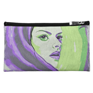 lady woodblock purple makeup bag