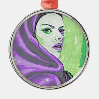 lady woodblock purple metal ornament