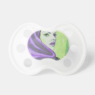 lady woodblock purple pacifier
