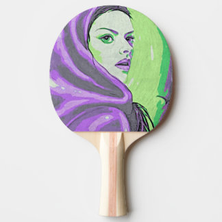 lady woodblock purple ping pong paddle