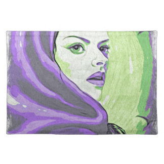 lady woodblock purple placemat