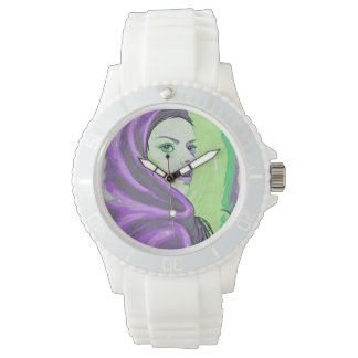 lady woodblock purple watch