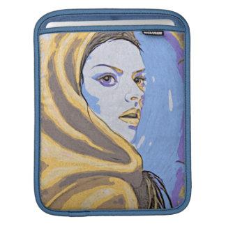 Lady woodblock yellow iPad sleeve