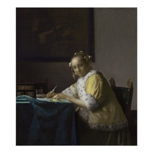 Lady Writing a Letter by Johannes Vermeer Poster