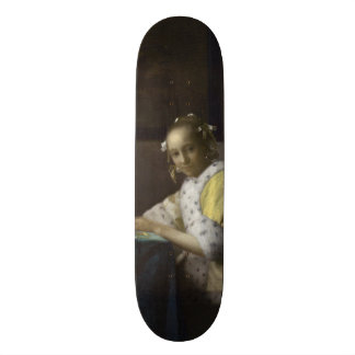 Lady Writing a Letter by Johannes Vermeer Skate Board Deck