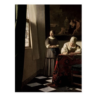 Lady writing a letter with her Maid, c.1670 Postcard