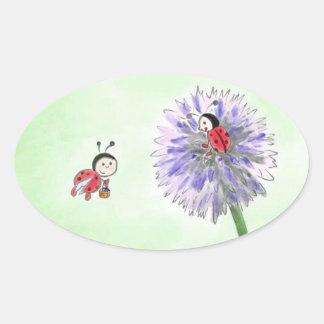 Ladybird flowers sticker greeting oval