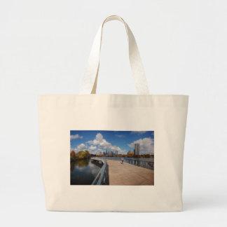 Ladybird Lake Boardwalk Trail in the Fall - Austin Large Tote Bag