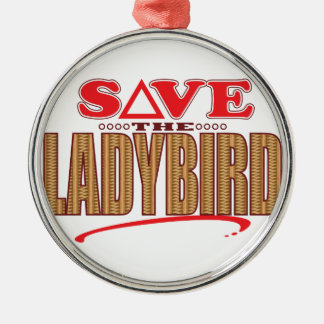 Ladybird Save Silver-Colored Round Ornament