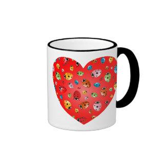 Ladybirds Heart Coffee Mugs