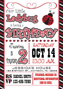 Ladybug 2nd Birthday Invitations Announcements