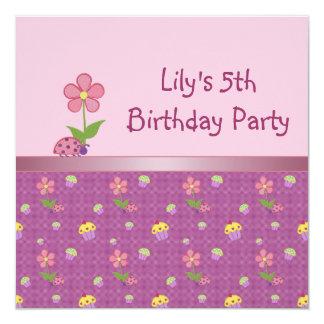 Ladybug 5th Birthday Party Pink Invitation