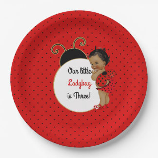 Ladybug African American Baby Girl Red & Black 9 Inch Paper Plate