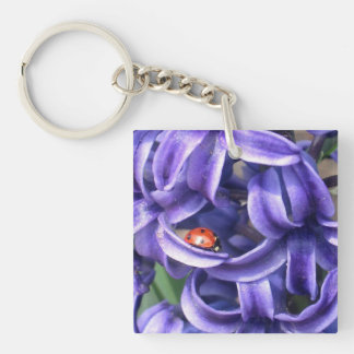 Ladybug And Hyacinth Single-Sided Square Acrylic Keychain