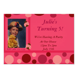 "Ladybug and Pink Polka Dots 5"" X 7"" Invitation Card"