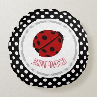 Ladybug And Polka Dot Throw Pillow