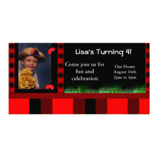 Ladybug and Stripes Photo Card Invitation