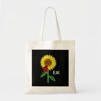 Ladybug and Sunflower Monogram Book Bag/Tote
