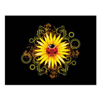 Ladybug and Sunflower Postcard