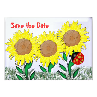 Ladybug and Sunflowers Card