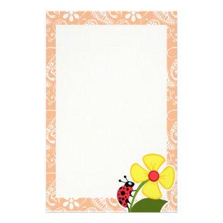 Ladybug; Apricot Color Paisley; Floral Stationery Design