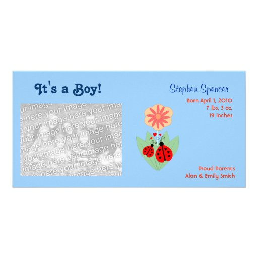 Ladybug Baby Announcement Photo Cards