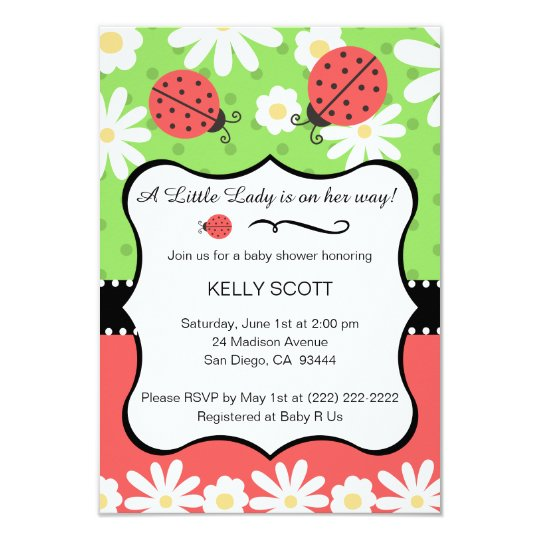 Ladybug Baby Shower Invitation - Lime & Red
