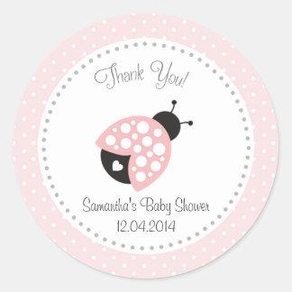 Ladybug Baby Shower Sticker Pink