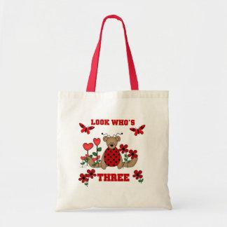 Ladybug Bear 3rd Birthday Tshirts Tote Bag