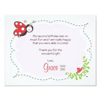 Ladybug Birthday Flat Thank You Note Card