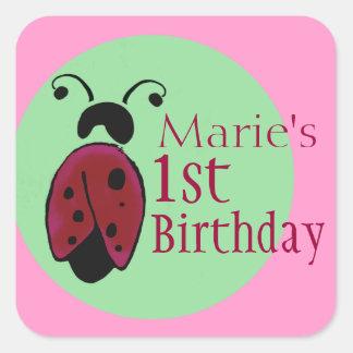 ladybug birthday label square sticker