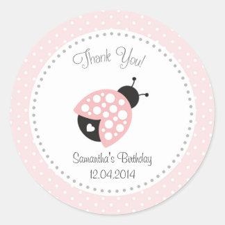 Ladybug Birthday Sticker Pink