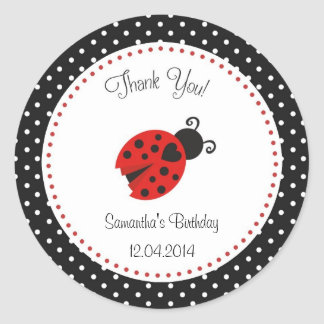 Ladybug Birthday Sticker Red and Black Polka Dots