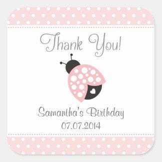 Ladybug Birthday Thank You Stickers (Pink)