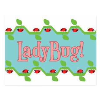Ladybug Blue Background Postcard
