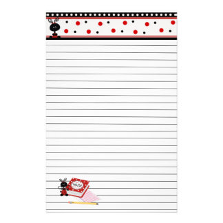Ladybug Border and Math Homework Lined Stationary Stationery Design