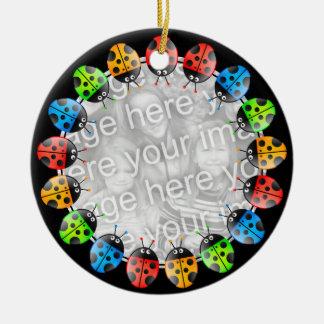 Ladybug Border Round Ceramic Ornament