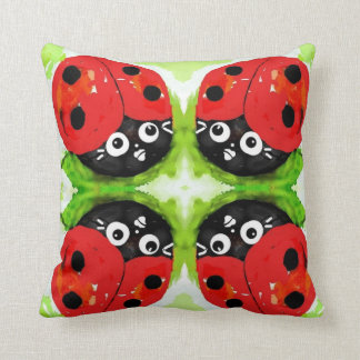 Ladybug both sides,  : Bugly the butterfly, Throw Pillow