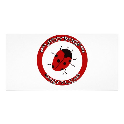 Ladybug button custom photo card