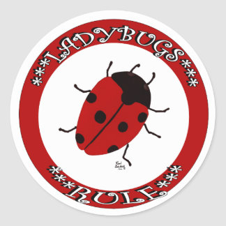 Ladybug button round sticker