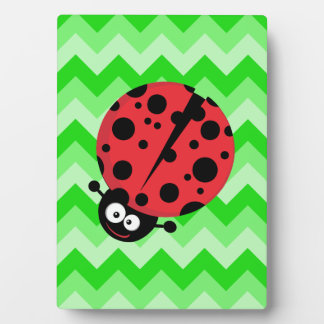 Ladybug Cartoon on Green Zigzag Plaque
