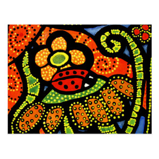 Ladybug Colorful Whimsical Folk Art Cute Postcard