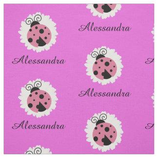 Ladybug daisy white flower custom kids nursery fabric