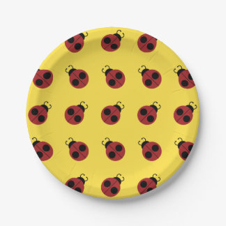 Ladybug Design Retro Colorful 7 Inch Paper Plate